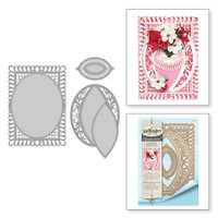 Spellbinders Shapeabilities Chantilly Paper Lace By Becca Feeken - Bella Rose Lattice Layering Frame Large