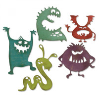 Sizzix Thinlits Dies By Tim Holtz 5/Pkg - Silly Monsters