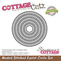 CottageCutz Nested Dies 5/Pkg - Stitched Eyelet Circle