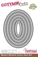 CottageCutz Nested Dies 5/Pkg - Stitched Eyelet Oval