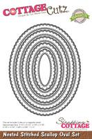 CottageCutz Nested Dies 5/Pkg - Stitched Scallop Oval