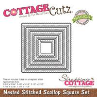CottageCutz Nested Dies 5/Pkg - Stitched Scallop Square