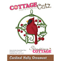 CottageCutz Dies - Cardinal Holly Ornament