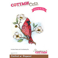 CottageCutz Stamp & Die Set - Cardinal With Dogwood