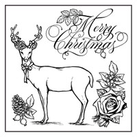 Stamperia High Definition Rubber Stamp -  Merry Christmas Moose