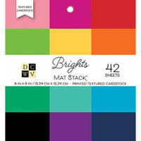 "DCWV Single-Sided Cardstock Stack 6""X6"" 42/Pkg - Brights Textured Solid"