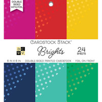 "DCWV Double-Sided Cardstock Stack 6""X6"" 24/Pkg - Brights With Foil"