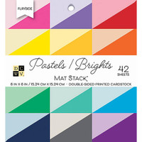 "DCWV Double-Sided Cardstock Stack 6""X6"" 42/Pkg - Flip/Side Pastels & Brights Solid"