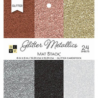 "DCWV Single-Sided Cardstock Stack 6""X6"" 24/Pkg - Glitter Metallics Solid"