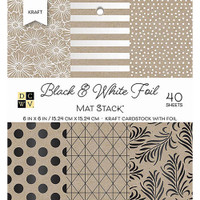 "DCWV Single-Sided Cardstock Stack 6""X6"" 40/Pkg - Black & White With Foil"