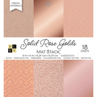 "DCWV Single-Sided Cardstock Stack 6""X6"" 18/Pkg - Solid Rose Golds With Specialty Finishes"