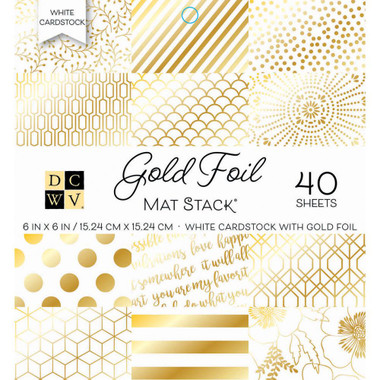 "DCWV Single-Sided Cardstock Stack 6""X6"" - White W/Gold Foil에 대한 이미지 검색결과"