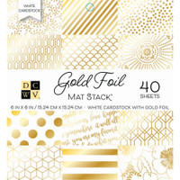 "DCWV Single-Sided Cardstock Stack 6""X6"" 40/Pkg Gold Foil - White W/Gold Foil"