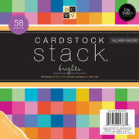 "DCWV Single-Sided Cardstock Stack 8""X8"" 58/Pkg - Brights White Core, 29 Solid Colors/2ea"