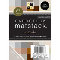 "DCWV Single-Sided Mat Stack 4.5""X6.5"" 87/Pkg - Neutrals, White Core"