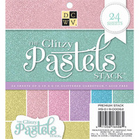 "DCWV Single-Sided Cardstock Stack 6""X6"" 24/Pkg - Glitzy Pastels Solid"