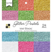 "DCWV Single-Sided Cardstock Stack 6""X6"" 24/Pkg - Glitter Pastels"