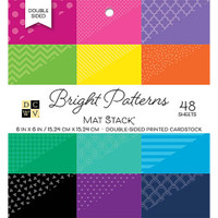 "DCWV Double-Sided Cardstock Stack 6""X6"" MatStack 48/Pkg - Bright Patterns"