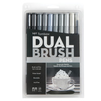 Tombow Dual Brush Pen Set, Grayscale, 10PK