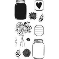 Hampton Art Clear Stamps  - Mason Jar Florals