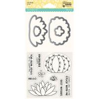Hampton Art, Jillibean Soup Shaker Clear Stamps & Die Set - Succulents
