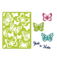 Sizzix Thinlits Die Set 6PK With Textured Impressions by Courtney Chilson - Just a Note Butterflies