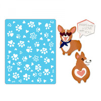 Sizzix Thinlits Die Set 12PK With Textured Impressions by Katelyn Lizardi - Corgis