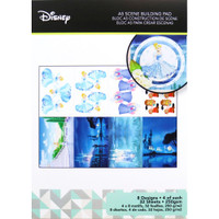 Disney A5 Scene Building Pad 32 Sheets, 8 Designs/4 Each - Cinderella