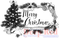 Deep Red Rubber Cling Stamps - Christmas Tree Tag