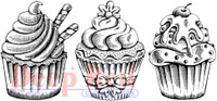 Deep Red Rubber Cling Stamps - Cupcake Border