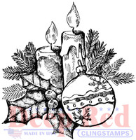 Deep Red Rubber Cling Stamps - Holly Candles