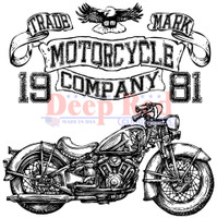 Deep Red Rubber Cling Stamps - Motorcycle Logo