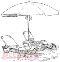 Deep Red Rubber Cling Stamps - Oceanside Loungers