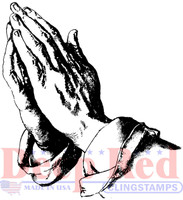 Deep Red Rubber Cling Stamps - Praying Hands