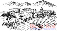 Deep Red Rubber Cling Stamps - Rolling Hills Vineyard