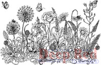 Deep Red Rubber Cling Stamps - Summer Flowers Border