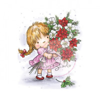 Wild Rose Studio - Girl with Christmas Bouquet