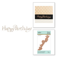 Spellbinders Glimmer Hot Foil Plates - Faux Script Happy Birthday