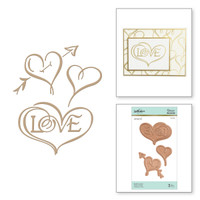 Spellbinders Glimmer Hot Foil Plates by Paul Antonio - Copperplate Hearts & Love
