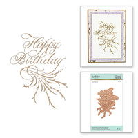 Spellbinders Glimmer Hot Foil Plates by Paul Antonio - Copperplate Script Happy Birthday