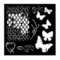 "Woodware 6 x 6"" Stencil - Broken Diamonds"