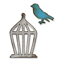 Sizzix Movers & Shapers Magnetic Die Set 2PK - Mini Bird & Cage Set by Tim Holtz