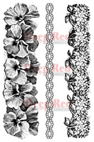 """Deep Red Cling Stamps - Pansy Borders 5"""" x 7"""""""