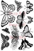 "Deep Red Cling Stamps - Butterflies 5"" x 7"""