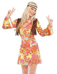 HIPPIE 1960's sexy adult female costume halloween sixties womens M/L