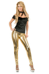 gold LEGGINGS SET 80s rock star sexy womens costume M