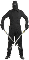 BLACK NINJA GI  WARRIOR japanese mask hood kung fu halloween mens costume LARGE