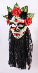 Day of the Dead Senora Mask With Black Lace Veil