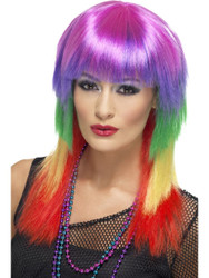 Rainbow Rocker Wig Multi-coloured Long with Fringe