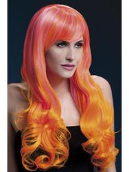 Fever Emily Wig Long Soft Curls with Fringe - Pink & Orange